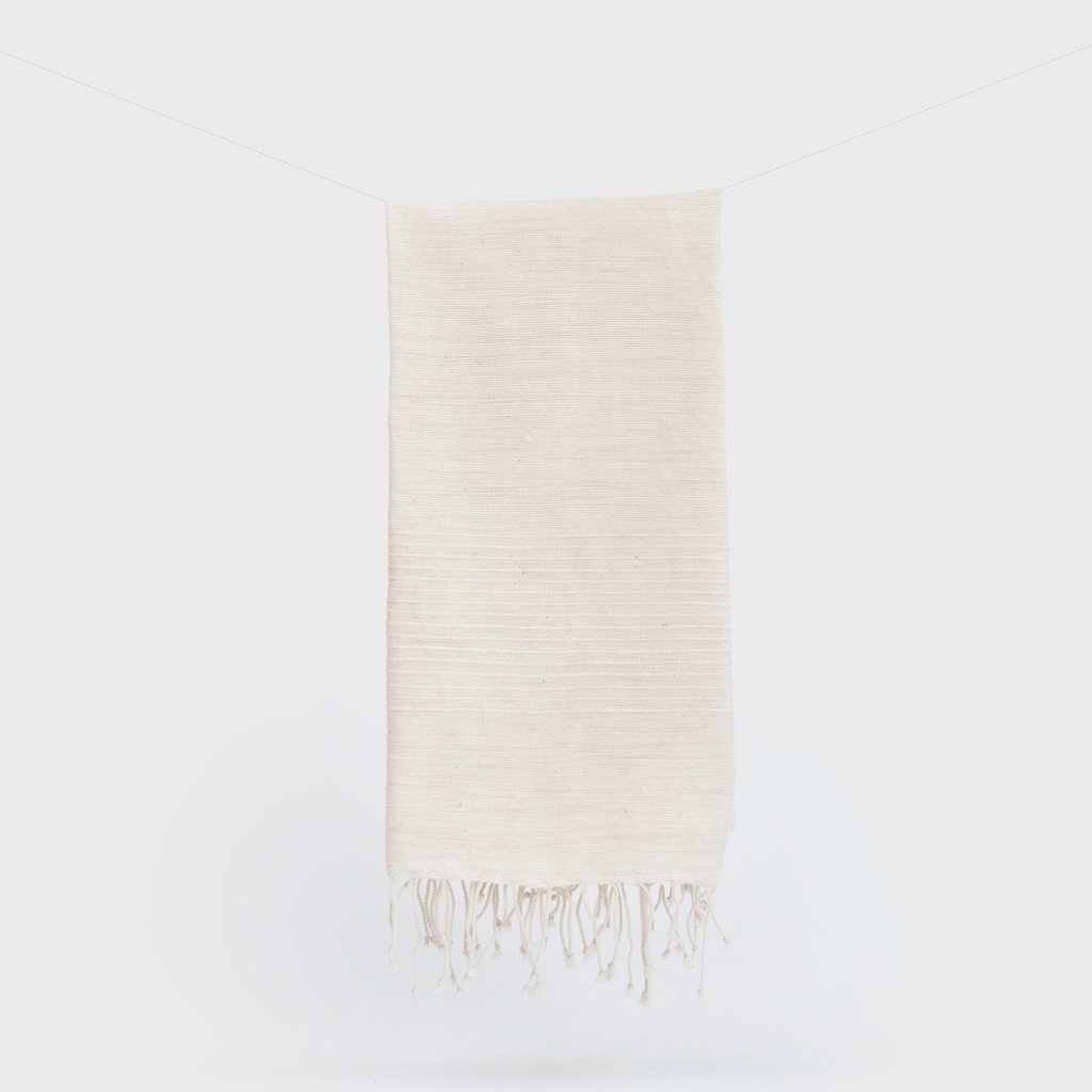 natural ribbed hand towel